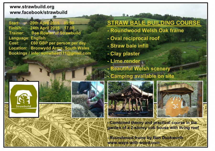 Strawbuild straw bale workshop - Bronwydd Arms